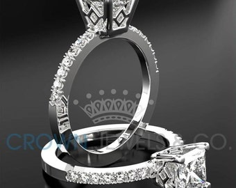 Ladies Engagement Ring 1.80 ct Princess Cut Diamond D SI Solitaire With Accents Wedding Ring In White Gold Setting