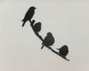 Bird on a Branch 4 Silhouette - Metal Wall Art - (DD12---)