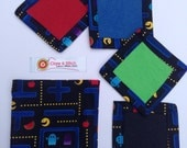 Fabric coaster set with gift bag | mug rugs | pac-man | black | drinks coaster | set of four | felt coaster