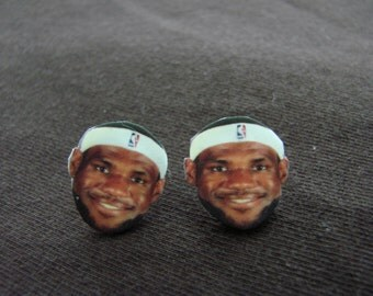 Smiling Lebron James earrings, Cleveland Cavaliers, basketball, Stud