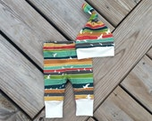 ORGANIC newborn leggings and hat in a darling colorful stripe print made by Lily & Charlie organic baby. Ready to ship!