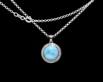 Larimar Necklace 10mm Round with White Sapphire Accent .925 Sterling Silver