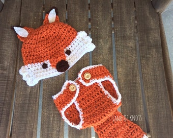 Crochet fox newborn outfit, crochet fox, fox hat, fox diaper cover, baby fox outfit, fox photography prop, crochet fox hat, woodland baby