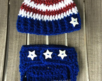 Crochet patriotic newborn outfit, american flag outfit, baby american flag hat, baby, stars and stripe hats, red white and blue with stars.