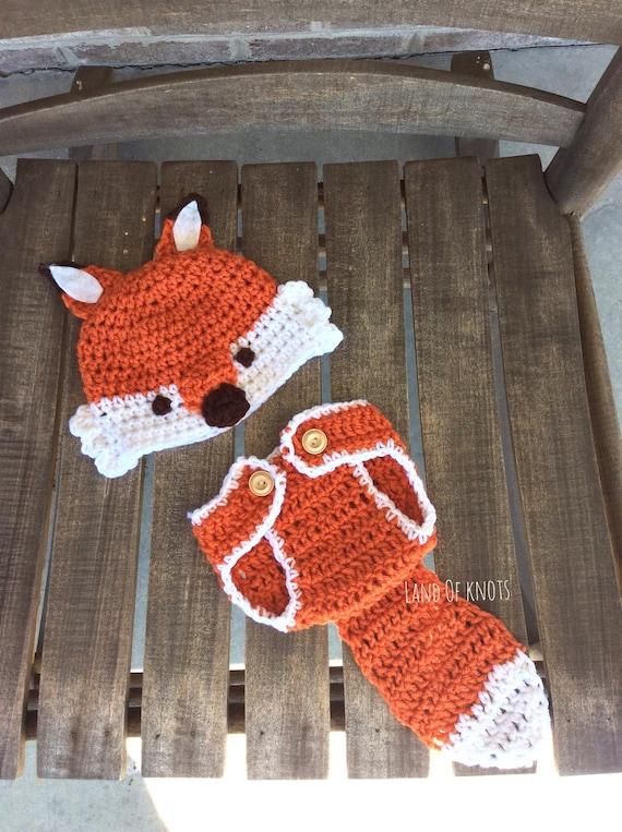 Crochet Newborn Outfits : Crochet fox newborn outfit, crochet fox, fox hat, fox diaper cover ...