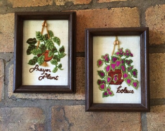 1970s Vintage Framed Embroidered Prayer Plant and Coleus Pictures