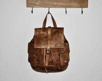 Vintage Style Handmade Dip Dye Leather Backpack-Women's Trvel Rucksack