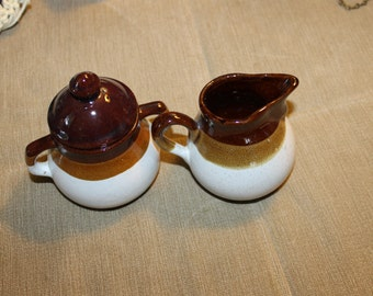 Crock Like Sugar & Creamer Set, Beautiful Set w Original Labeling, Made in Taiwan, Three Color Design, Lid is Included, Home Decor, Kitchen