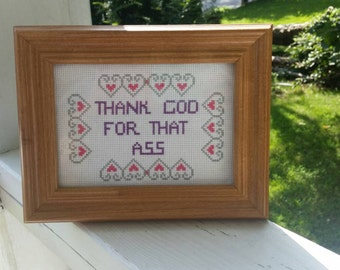 Inappropriate Ironic Cross Stitch Funny Thank God