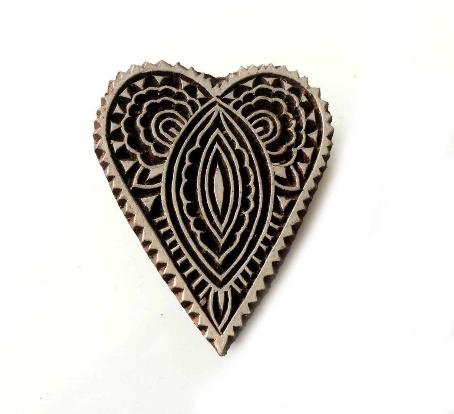 Heart stamp wooden carved indian wood