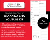A5 Filofax Blog Planner - YouTube Planner - Blog Statistics Tracker - Keyword Researcher