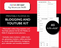 A5 Filofax Blog Planner - YouTube Planner - Blog Statistics Tracker - Keyword Researcher