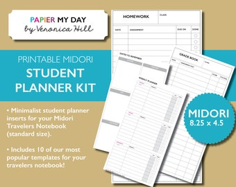 Midori Traveler's Notebook Student Planner Kit / Student Planner Printable for MTN - Includes 11 MTN Printables!