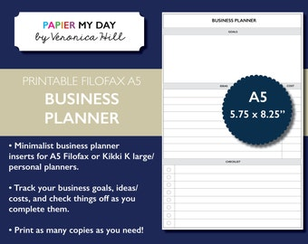 Printable A5 Filofax Business Planner - Business Planner and Goals Checklist for Filofax and Kikki K planners