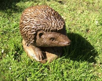Stone hedgehog garden ornament