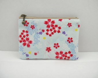 Japanese coin purse, Small coin purse, Small pouch, Blue, Floral, Cherry blossom