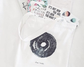 Dear Camille's Donut Art Canvas Tote Bag