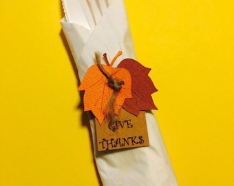Thanksgiving Napkin Rings, set of 20 - Thanksgiving Decor - Fall Decor - Give Thanks Decor - Autumn Decor - Thanksgiving Table Decor