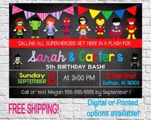 Twin Superhero Invitation, Boy and girl Superhero Invitation, SuperHero Invitation, Superheroes Invite, Superhero Birthday