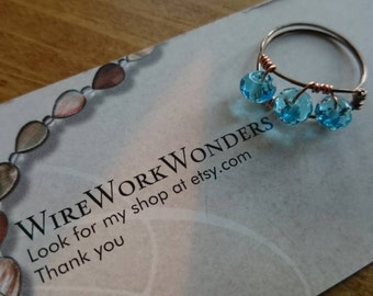Handmade gunmetal and blue wire wrapped ring