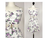 ON SALE NOW vintage 1940s playsuit <> 1940s cotton shorts and bra set <> 40s play set in a purple floral print <> 1940s cotton floral playsu