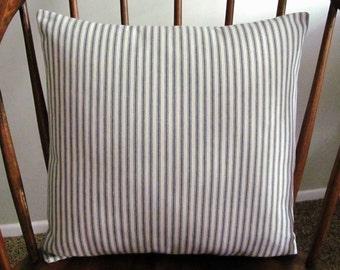 Gray Ticking Stripe Pillow Cover