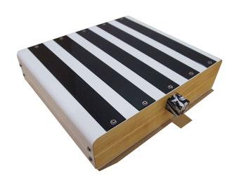 mens valet box jewelry box storage box white with black stripes jewelry storage watch