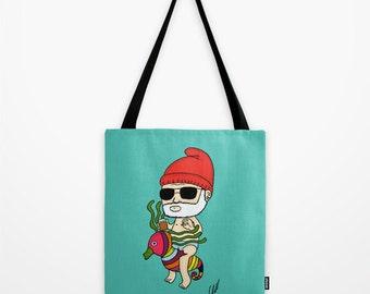Zissou, Crayon Ponyfish, The Life Aquatic, Wes Anderson, Tote Bag,  school bag, book bag, tote, gift, nappy bag for dad, diaper bag, bill mu