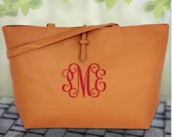 Caramel Faux Leather Shoulder Bag