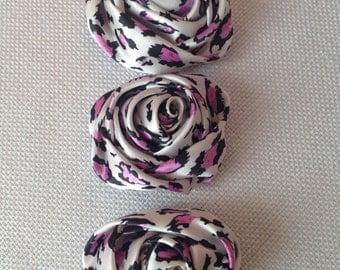 1 Pink Leopard Satin Rolled Rosette Flower