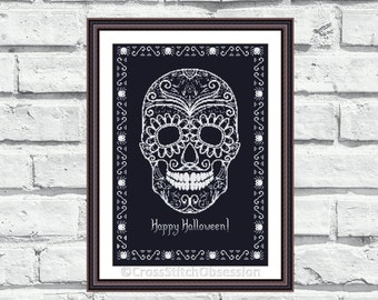 """Halloween cross stitch pattern """"Happy Halloween"""". Sugar Skull design, creepy and fun, perfect for Halloween decorations or as gift. (P142)"""