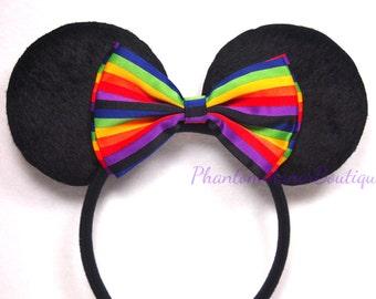 Minnie Mouse Ears - Rainbow Stripe Bow Headband Pride Mickey
