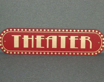 Vintage Style Red and Gold Theater Wall Sign Movie Home Decor