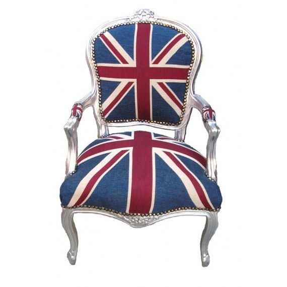 Fabulous & French Louis XV Style Armchair in Union Jack Flag