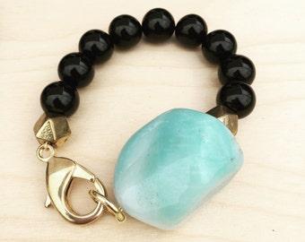 Amazonite Cuff Bracelet. Gemstone Jewelry, Brass Bracelet, Tribal, Boho.Onyx.