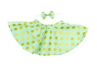Mint and Gold Glitz Polka Dot Twirl Skirt, Circle Skirt for baby and toddler girls