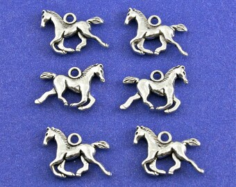 6 pcs- Horse Charm, Antiqued Sliver Pony Pendant, Small Tiny Horse, 3-Dimensional Galloping Horse