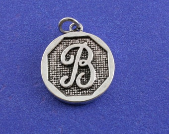 1 pcs-Initial B Charm, B Alphabet Pendant, Antiqued Silver Letter B Coin-As-K85350H-8S