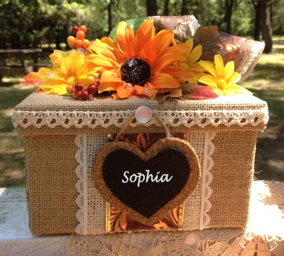 Fall Wedding Gift Card Box : ... gift,rustic wedding box,burlap gift box,bridesmaid gift,wedding box
