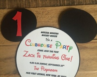 Mickey Mouse Clubhouse Die Cut Invitations, Mickey Mouse Invitations, Minnie Mouse Die Cut Invitations, Minnie Mouse Invitations