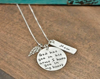 Sterling silver memorial necklace, rememberance necklace, God has you in his arms I have you in my heart, mom , dad, child