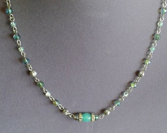 Muted Blue Strand Necklace
