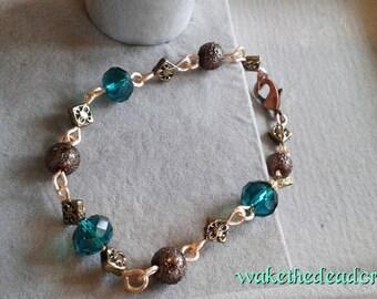 Green Glass Bead and Bronze Bracelet