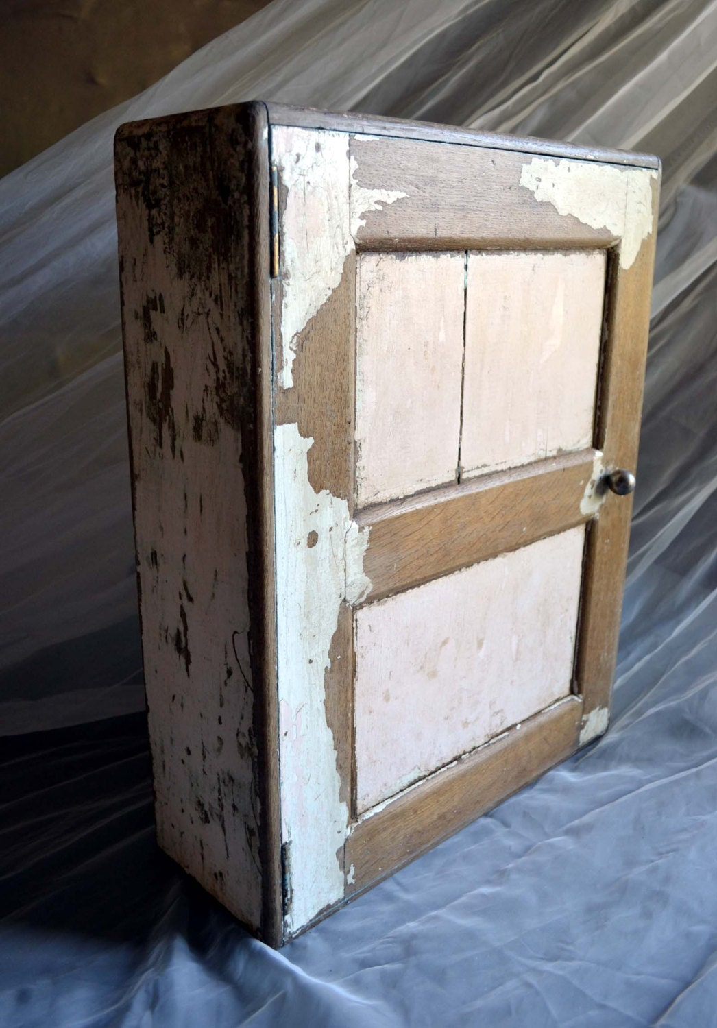 Vintage French Painted Oak Cabinet Wooden Cupboard Chippy Paint Shabby Chic Furniture Haute Juice