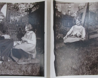 Two Small Vintage 1930s Black and White Photographs ~ Sisters