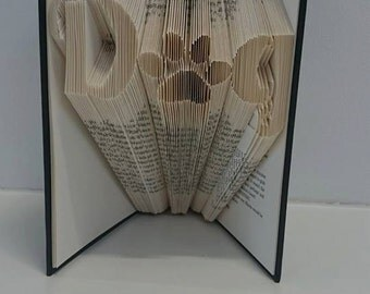 Dog Paw Print Folded Book Art **Pattern** and instructions  PDF Free Instructions