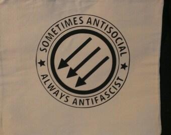 Sometimes Antisocial Always Antifascist Canvas Tote Bag
