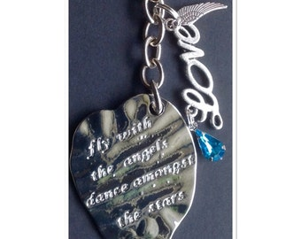 Fly With The Angels Dance Amongst the Stars Angel Wings Love Keyring Keychain