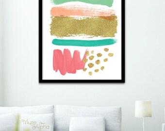 Coral Abstract Brushstroke, Modern Art Print, Abstract Poster, Abstract Wall Art, Coral and Mint Brushstrokes Wall Art Printable