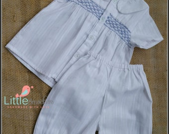 Hand Smocked Baby Boys Shirt & Shorts